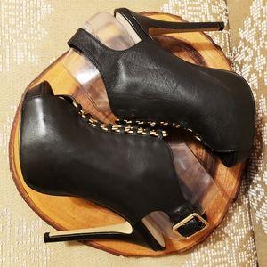 Edgy Leather Stilletto Platform Heels Chain